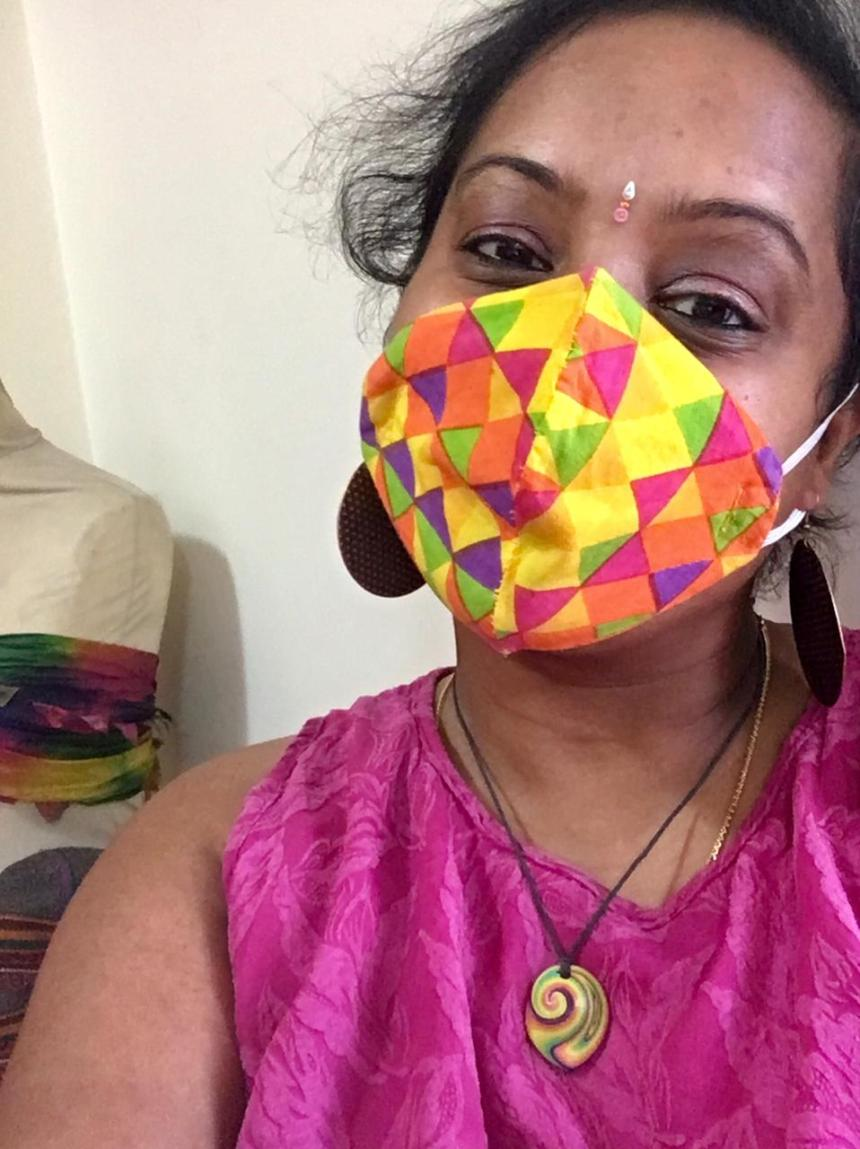 Sandhya Rajan in mask
